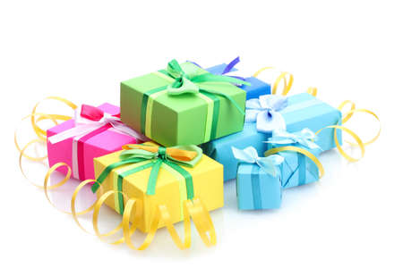 blue box: bright gifts with bows isolated on white