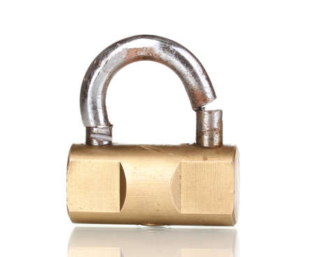 Modern sawn padlock isolated on white Stock Photo - 14028472