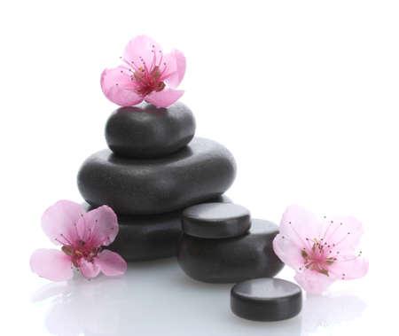 Spa pierres et roses fleurs sakura isolé sur blanc Banque d'images