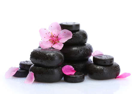 Spa stones with drops and pink sakura flowers isolated on white  Stock Photo - 14031025