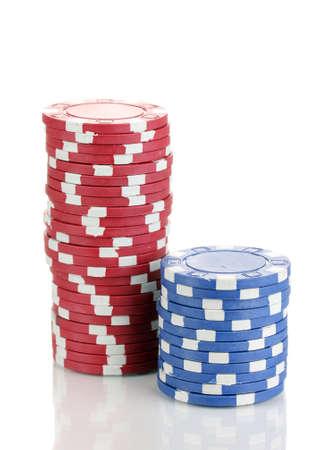 fichas casino: Fichas de casino aislados en blanco