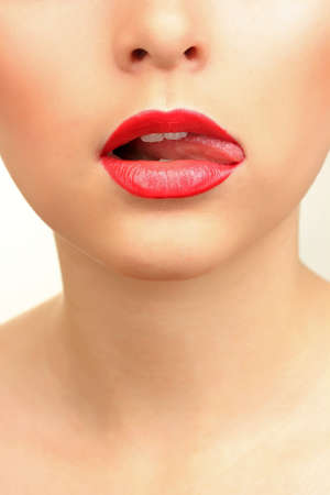 beautiful make up of glamour red gloss lips photo