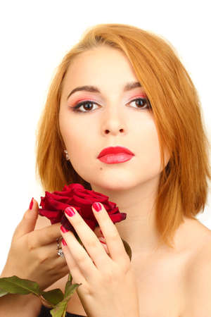 portrait of sexy young woman with red rose photo