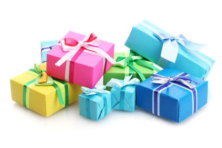 gift parcel: bright gifts with bows isolated on white