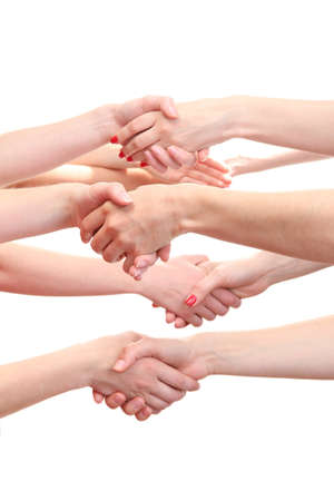 handshakes: group of young peoples hands isolated on white