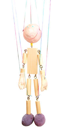 Wooden puppet isolated on white Stock Photo - 14054213