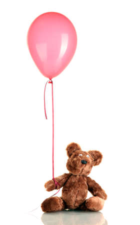 teddy bear with colorful balloon isolated on white photo