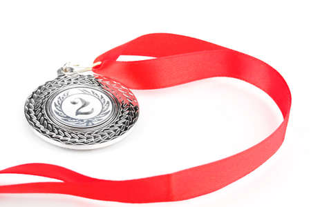 Silver medal isolated on white Stock Photo - 14090222