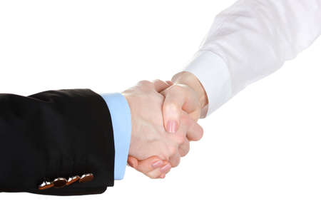 Business handshake isolated on white photo