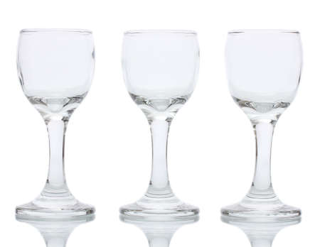 Empty glasses isolated on white photo