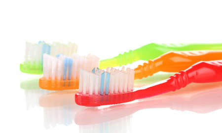 Toothbrushes isolated on white photo