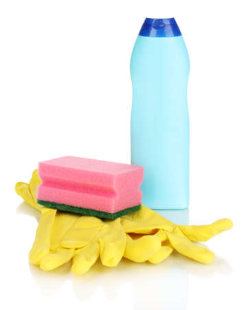 Dishwashing liquid with gloves and sponge isolated on white photo