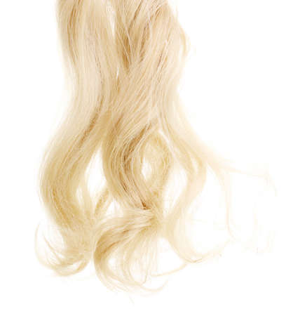 blond hair: Curly blond hair isolated on white Stock Photo