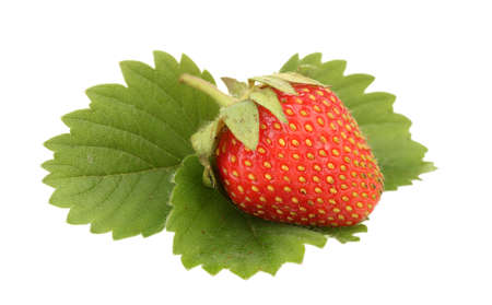 sweet ripe strawberries with leaves isolated on white photo