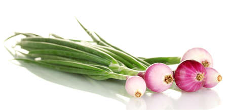 bulb and stem vegetables: Red young onion isolated on white