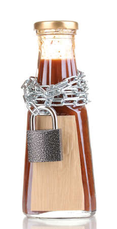 Secret ingredient with chain and padlock isolated on white Stock Photo - 14114981