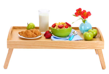 light breakfast on wooden tray isolated on white Stock Photo - 14114939