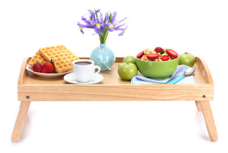 light breakfast on wooden tray isolated on white Stock Photo - 14114951
