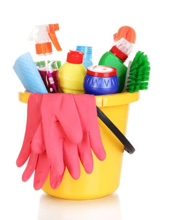 domestic chore: Cleaning items in bucket isolated on white Stock Photo