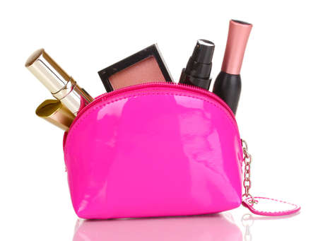 Make up bag with cosmetics isolated on white Stock Photo - 14114893