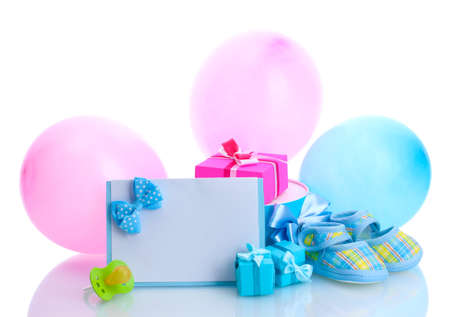cute text box: beautiful gifts, babys bootees, blank postcard, dummy and balloons isolated on white Stock Photo