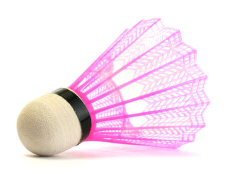 pink plastic shuttlecock isolated on white photo