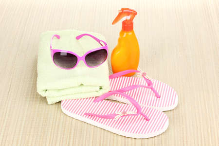 Beach accessories on mat Stock Photo - 14159444