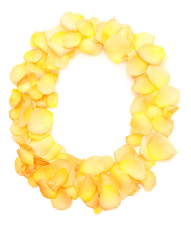 orange rose petals forming letter O, isolated on white photo