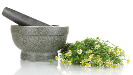 Chamomile flowers in mortar isolated on white photo