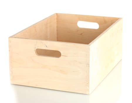 empty wooden crate isolated on white Stock Photo - 14157562