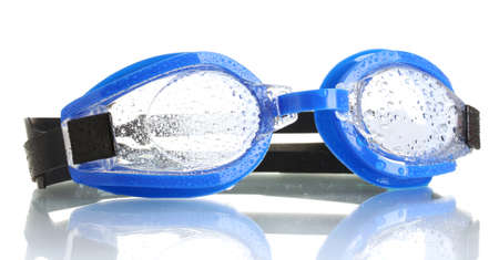 blue swim goggles with drops isolated on white  photo