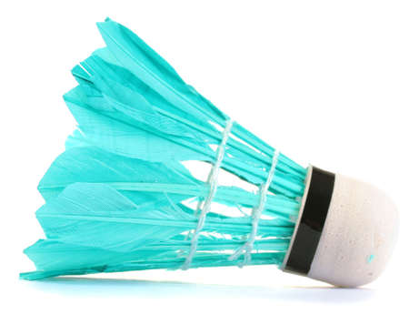 blue feather shuttlecock isolated on white photo