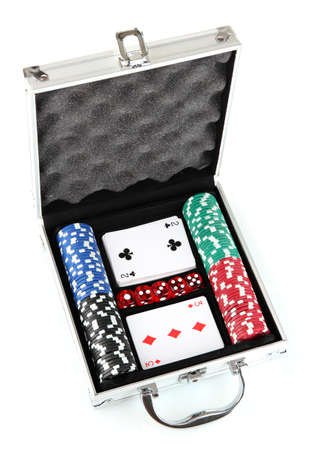 Poker set in metallic case isolated on white background photo