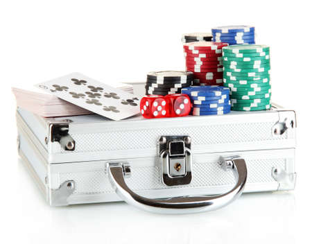 Poker set on a metallic case isolated on white background photo