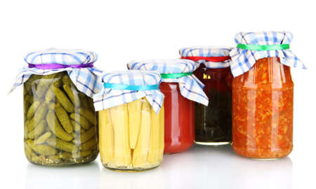 Jars with canned vegetables isolated on white Stock Photo - 14157770