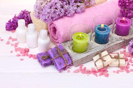 beautiful spa setting on white wooden background photo