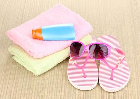 Beach accessories on mat Stock Photo - 14163643