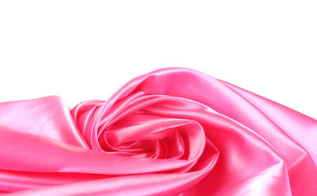 pink silk drape isolated on white photo
