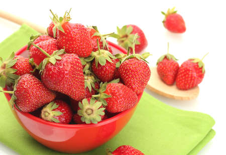sweet ripe strawberries in bowl isolated on white Stock Photo - 14163590