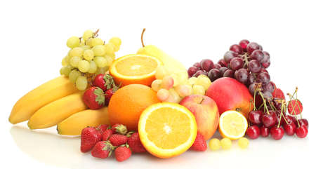 exotic fruits: exotic fruits and berries isolated on white Stock Photo
