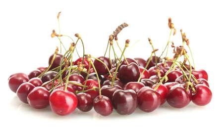 Ripe cherry berries isolated on white Stock Photo - 14163401