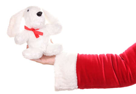 Santa Claus hand holding toy rabbit isolated on white Stock Photo - 14163434