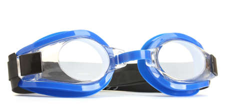 blue swim goggles isolated on white  photo