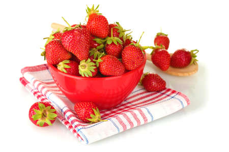 sweet ripe strawberries in bowl isolated on white Stock Photo - 14179515