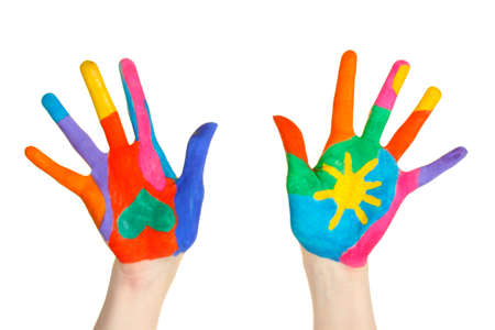 Brightly colored hands on white background close-up