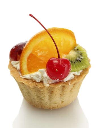 sweet cake with fruits isolated on white photo