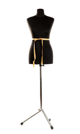 vide mannequin noir avec un ruban � mesurer isol� sur blanc photo