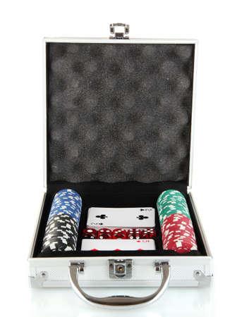 Poker set in metallic case isolated on white background Stock Photo - 14179768