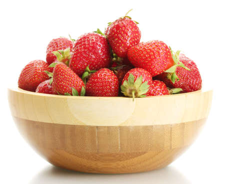 sweet ripe strawberries in wooden bowl isolated on white Stock Photo - 14221108