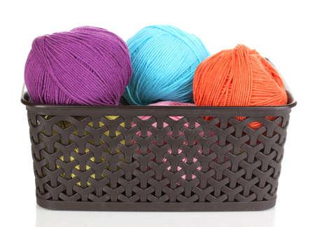 Knitting yarn in plastic basket isolated on white Stock Photo - 14221397